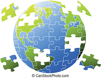 puzzle world, vector - earth globe with jigsaw puzzle,...