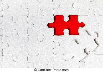 puzzle., zagadka, kolor, wyrzynarka, biały, tło., niedokończony, kawałki