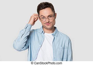 puzzled, серый, isolated, задний план, человек, кавказец, glasses