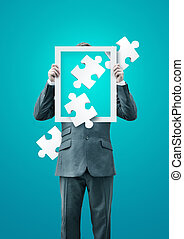Puzzled Businessman Holding a Frame