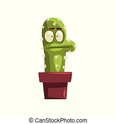 Puzzled cactus character in a clay pot, succulent plant with...