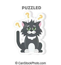 Puzzled cat sticker.