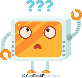 Puzzled Little Robot Character