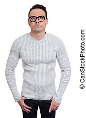 puzzled man wearing glasses. Isolated