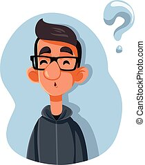 Puzzled Teenager Asking Questions Vector Cartoon - Funny ...