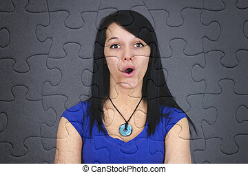 Puzzled young woman