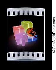 Puzzles and earth. Isolated on white background. The film strip