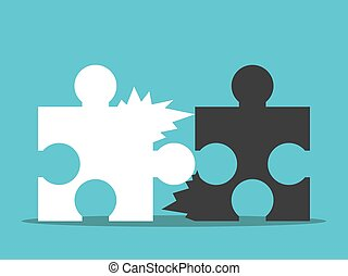 Two jagged puzzle pieces unable to be joined together. Bad team work, communication and cooperation concept. Flat design. EPS 8 compatible vector illustration, no transparency, no gradients