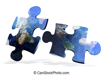 puzzles, carte, global, comunication