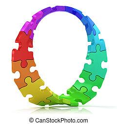 puzzles, cercle, tordu, coloré