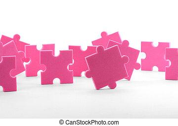 teamwork - puzzles close up, business concept teamwork