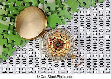 puzzles, code binaire, compas
