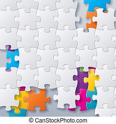 puzzles, concept abstrait, vecteur, fond