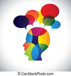 puzzles, concept, coloré, idées, figure, doutes, questions