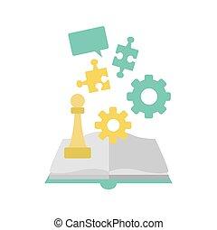 puzzles, engrenages, livre, conception, puzzle, coloré