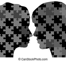 puzzles, femme, homme