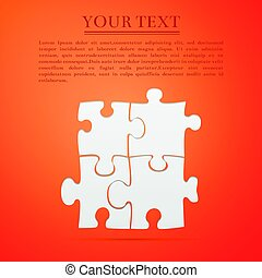 Puzzles flat icon on orange background. Vector Illustration