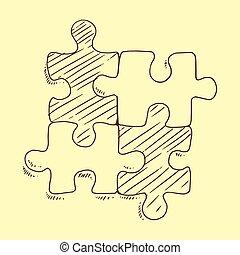 Puzzles flat pieces sketch vector illustration