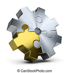 puzzles gear - Gear of jigsaw puzzles. 3d image. Isolated ...