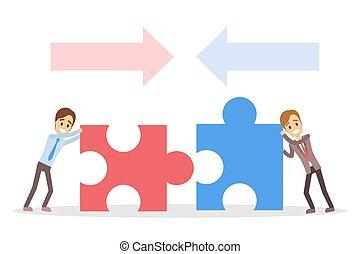 puzzles., geschäftsmenschen