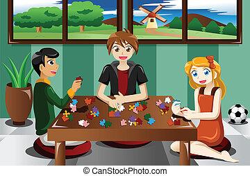 puzzles, gosses, jouer