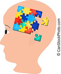 Puzzles in the brain. head. World Autism Day. Vector illustration on isolated background.