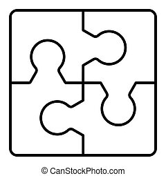 puzzles line vector icon isolated on white. Flat outline style. Eps 10