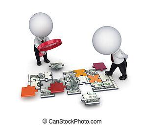 puzzles., loupe, ludzie, dolar, robiony, 3d