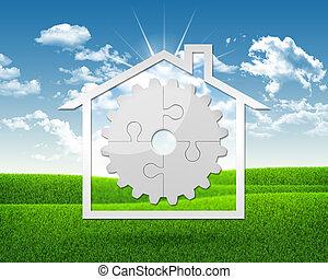 puzzles, maison, engrenage, icône