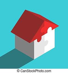 puzzles, maison, isométrique