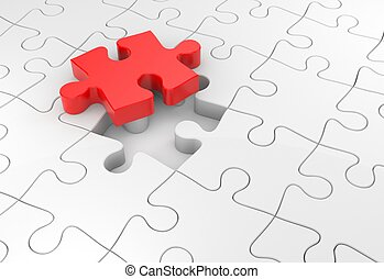 Puzzles metaphor - Success metaphor. Isolated on white