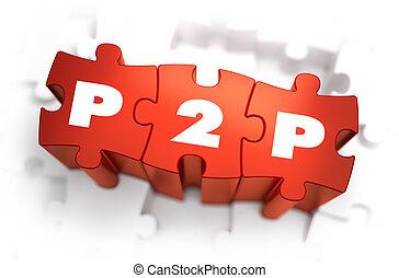 puzzles., mot, -, p2p, blanc rouge