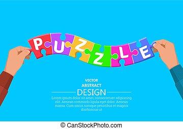 puzzles, particules, multi-coloré, mettre, mains