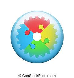 puzzles, puzzle, engrenage, coloré