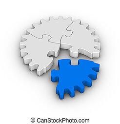 puzzles, puzzle, engrenage