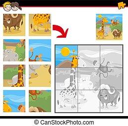 puzzles, sauvage, puzzle, animaux, dessin animé