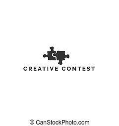 Puzzles, symbol of creative ideas. Vector hand drawn premade...