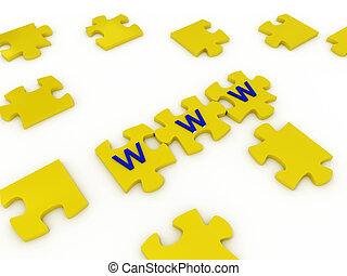 Puzzles with letters on white background