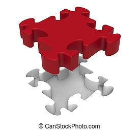 puzzlespielstück, shows, individuum, gegenstand, problem
