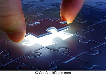 puzzleteil, kommend herunter, in, es ist, ort