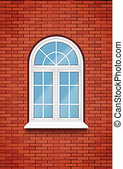PVC arch window - Metal plastic PVC window with arch in...