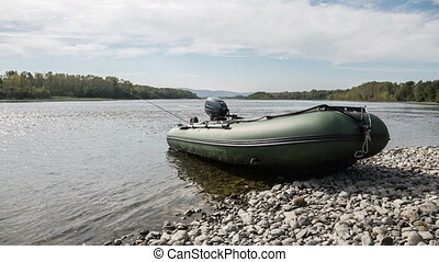 Pvc boat - the green boat of pvc with the water-jet engine...