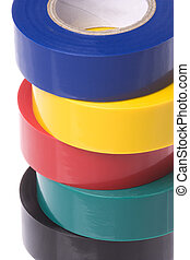 Isolated image of colourful PVC electrical tapes.