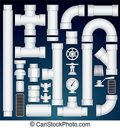 PVC Pipeline Construction. Kit Include Plastic Straight Pipe Parts, Connectors, Valve, Grills, Curve Elbows. Vector Customizable Kit