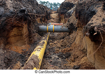 pvc pipes in the earth