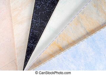 pvc, plástico, cladding, muestras, panel