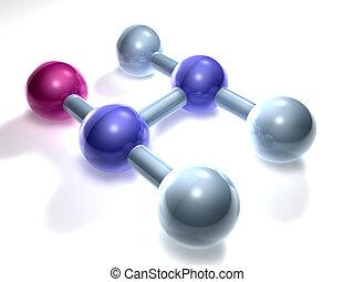 PVC - Polyvinylchlo - 3D rendering of a PVC Molecule. A...