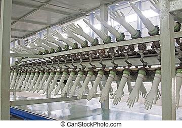 pvc, production, gants, ligne