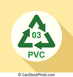 Pvc sign icon, flat style - Pvc sign icon. Flat illustration...
