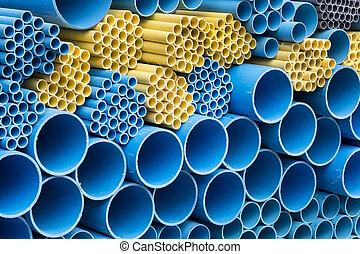 pvc, tubos, tamaño